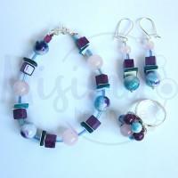 Дамски комплект гривна, обеци и пръстен от розов кварц, седеф, мрамор аметист, камък дъга и сребро