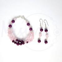 Дамски комплект двойна гривна и обеци от розов кварц, мрамор аметист и сребро