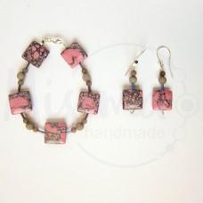 Дамски комплект гривна и обеци от розов тюркоаз, сив нефрит и сребро