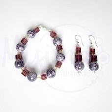 Дамски комплект гривна и обеци от пурпурен ахат, стъклени кристали и сребро