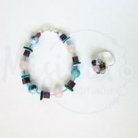 Дамски комплект гривна и пръстен от розов кварц, седеф, мрамор аметист, камък дъга и сребро