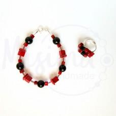 Дамски комплект гривна и пръстен от оникс, седеф, мрамор корал и сребро