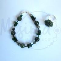Дамски комплект гривна и пръстен от зелен мъхест ахат, мрамор изумруд, седеф и сребро