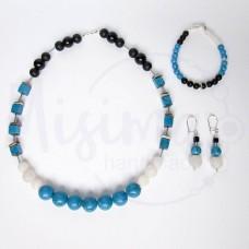 Дамски комплект колие, гривна и обеци от оникс, бял ахат, син тюркоаз, седеф и сребро
