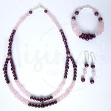 Дамски комплект двойно колие, гривна и обеци от розов кварц, мрамор аметист и сребро