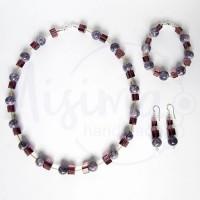 Дамски комплект колие, гривна и обеци от пурпурен ахат, стъклени кристали и сребро