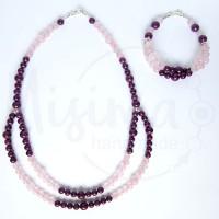 Дамски комплект двойно колие и гривна от розов кварц, мрамор аметист и сребро