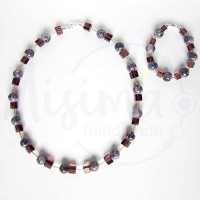 Дамски комплект колие и гривна от пурпурен ахат, стъклени кристали и сребро