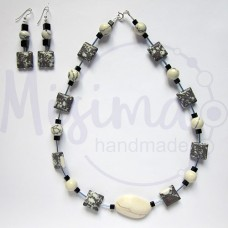Дамски комплект колие и обеци от кафяв тюркоаз, бял тюркоаз, туркенит, оникс и сребро
