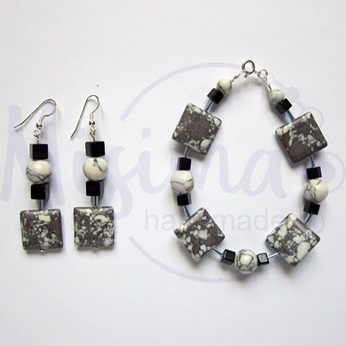 Дамски комплект гривна и обеци от кафяв тюркоаз, туркенит, оникс и сребро