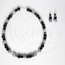 Дамски комплект колие и обеци от оникс, черен мъхест кварц, персийски нефрит и сребро