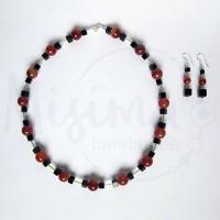 Дамски комплект колие и обеци от оникс, червен сардоникс и сребро