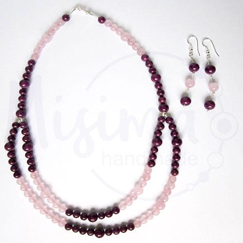 Дамски комплект двойно колие и обеци от розов кварц, мрамор аметист и сребро