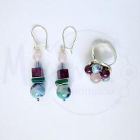 Дамски комплект обеци и пръстен от розов кварц, седеф, мрамор аметист, камък дъга и сребро