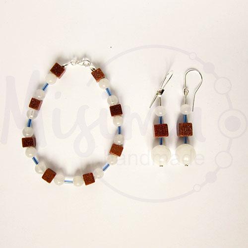 Дамски комплект гривна и обеци от бял нефрит, пустинен пясък и сребро