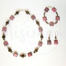 Дамски комплект колие, гривна и обеци от розов тюркоаз, сив нефрит и сребро
