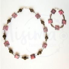 Дамски комплект колие и гривна от розов тюркоаз, сив нефрит и сребро