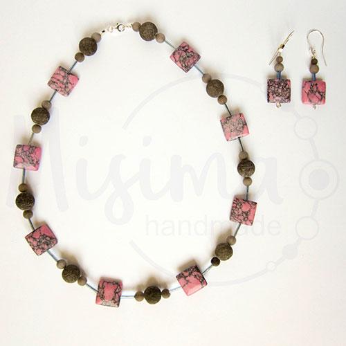 Дамски комплект колие и обеци от розов тюркоаз, сив нефрит и сребро