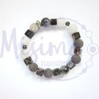 Мъжка гривна от сив нефрит, персийски нефрит, бял ахат, черен мъхест кварц, хематит и сребро