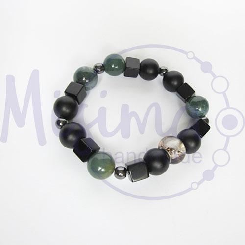 Мъжка гривна от оникс, зелен мъхест ахат, черен мъхест кварц, хематит и сребро