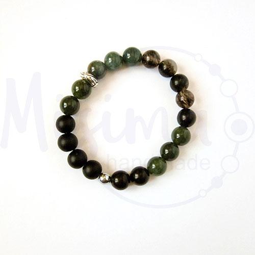 Мъжка гривна от оникс, черен мъхест кварц, зелен мъхест ахат, хематит и сребро