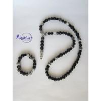 Мъжки комплект колие и гривна от оникс, персийски нефрит, черен изтъкан яспис, черен мъхест кварц, хематит и сребро